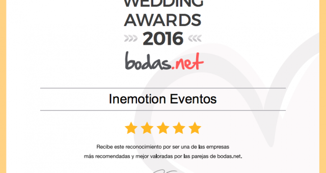Inemotion Eventos obtiene un premio Wedding Awards 2016